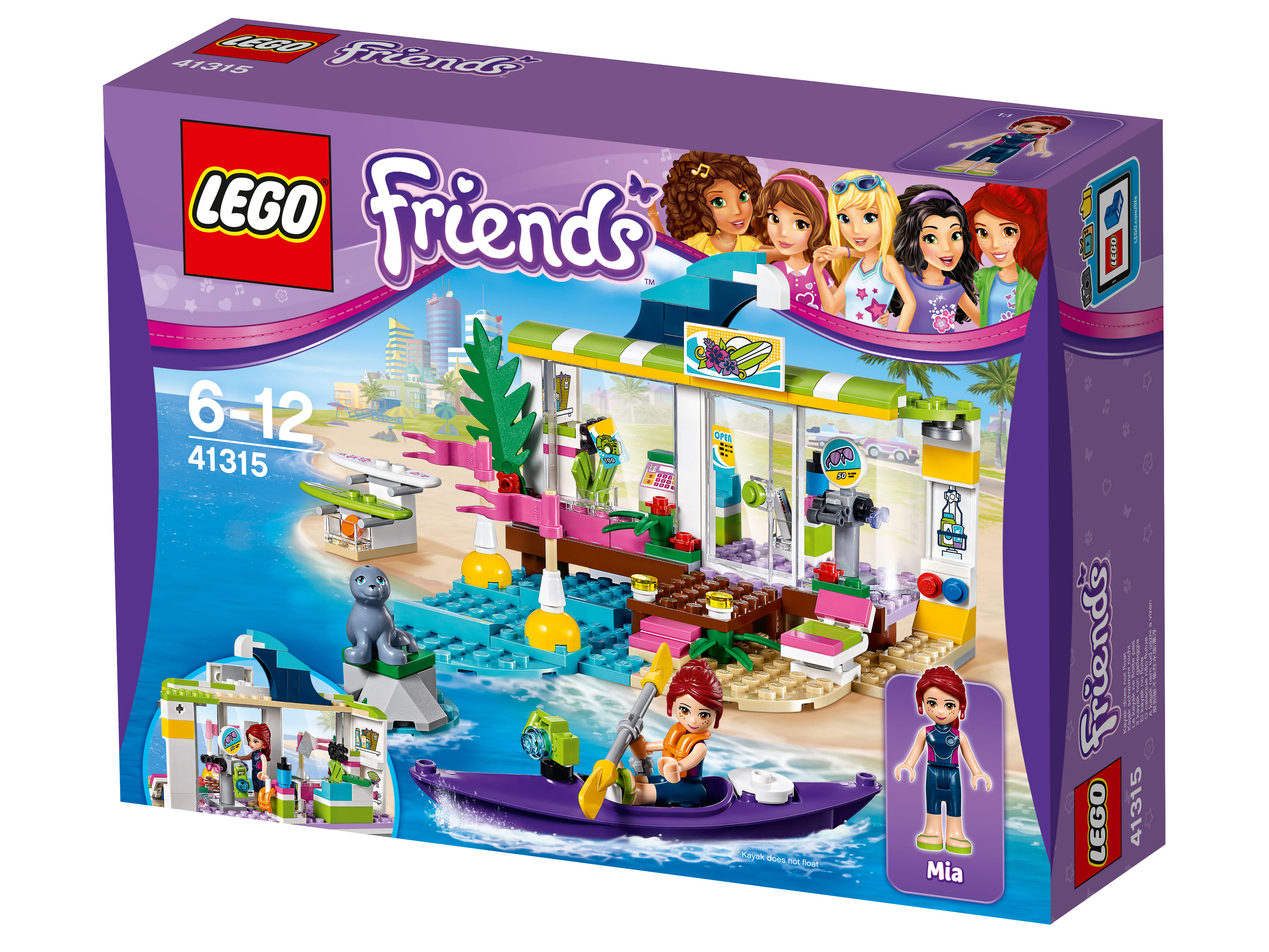 41315 Lego Friends Сёрф-станцияС наступлением летнего сезона свои двери для вас открывает сёрф-станция. Не упустите возможность проверить себя на смелость и поддержать спортивную форму. Отличное снаряжение, теплое море, свежий воздух для упругого паруса — лучшие условия для катания. И, конечно, волны, дарящие скорость вашей доске. Катайтесь в свое удовольствие или устройте соревнования для самых смелых серферов. А с берега за вами будет наблюдать очаровательный морской котик.<br>