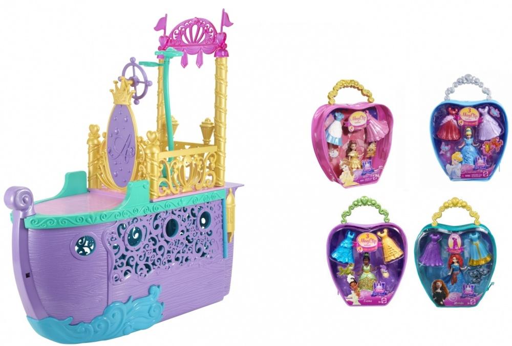 Набор подарочный Mattel Disney Princess волшебный корабль АриэльВолшебный корабль Принцессы Ариэль готов помчаться в плавание! Этот корабль с красивым внешним декором и палубой содержит кое-какой секрет. Если его раскрыть, то получится комфортная комната для куклы с мебелью и аксессуарами. Также в комнате присутствует горка, фигурка крабика. Среди мебели есть туалетный столик, кровать, диадема, расческа и другие милые штучки (всего 15 аксессуаров). Набор «Волшебный корабль» подходит для кукол высотой около 28 см.В дополнение к кораблю прилагается мини-кукла Принцесса Диснея высотой 11 см (Белль / Золушка / Тиана / Мерида). У мини-куколки есть 2 сменных наряда, которые очень легко снимать и надевать. Куколка и наряды находятся в удобном кейсе с ручкой. Декор с использованием блесток делает наряды очень торжественными.<br>