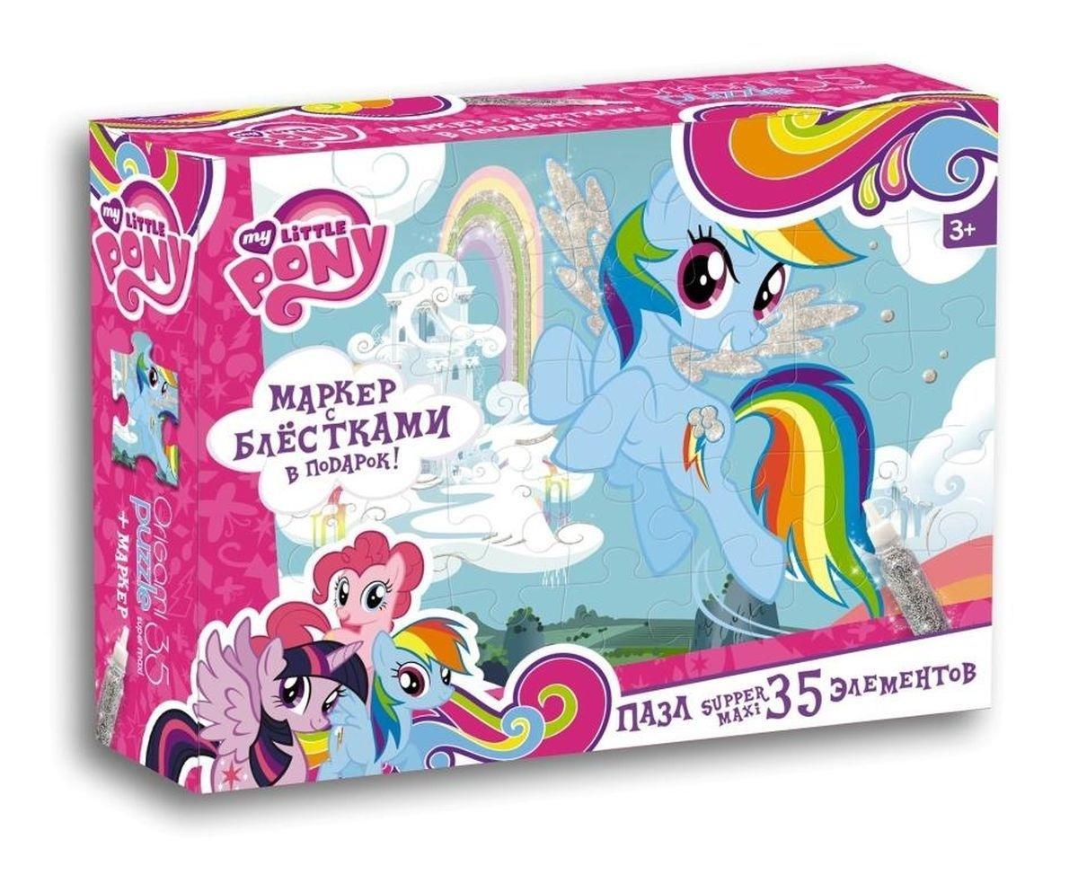 MLP Пазл Облачный замок Радуги 35 деталей + маркер с блестками 02110Макси-пазл для малышей Оригами My Little Pony. Рэйнбоу Дэш, состоящий из 35 элементов, - это прекрасный подарок для маленькой принцессы. Большие элементы этого пазла без труда соберет даже самый маленький непоседа. В комплект с пазлом входит маркер с блестками, которым можно раскрасить пони, что придаст собранному рисунку яркость и объем. Герой этого набора – Рэйнбоу Дэш. Самая главная и всепоглощающая страсть этой пони – полеты, и чем быстрее, тем лучше. Способная и сильная, она обожает приключения. И всегда остается преданной друзьям.Красочный пазл от компании Оригами - наилучшее решение для развития вашего ребенка. Собирая картинку, малыш учится соотносить отдельные элементы в целое изображение, подбирать фрагменты по цвету и форме. Пазл поможет развить мелкую моторику рук ребенка, цветовое восприятие, воображение и логическое мышление, научит видеть большое в малом.<br>