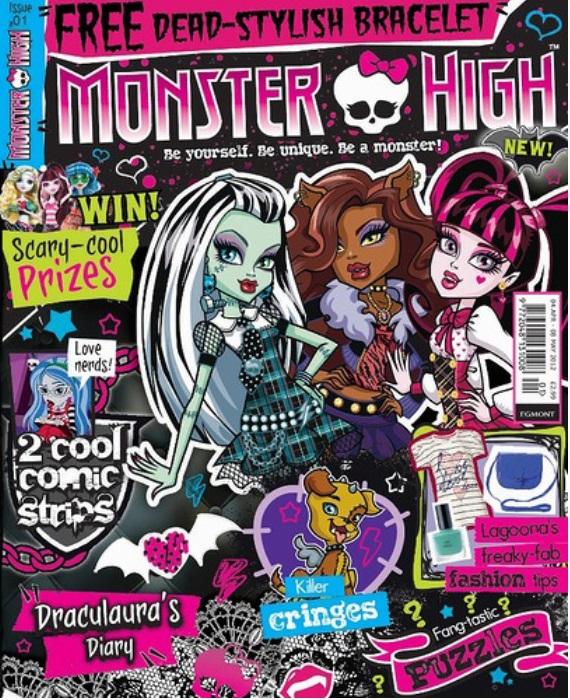 Журнал коллекция Monster HighКоллекция состоит из 11 номеров. Первый номер посвящён самой популярной девчонке-монстру – Дракулауре! Второй номер - самой доброй девчонке-монстру Фрэнки Штейн! Фрэнки является дочерью доктора Франкенштейн и ей всего лишь 16 дней. Информацию о вкусах и отличительных чертах самого юного монстра в школе можно почерпнуть из раздела «Монстродосье». Раздел «Вот так монстр!» расскажет о том, что героиня любит, а чего - терпеть не может.<br>