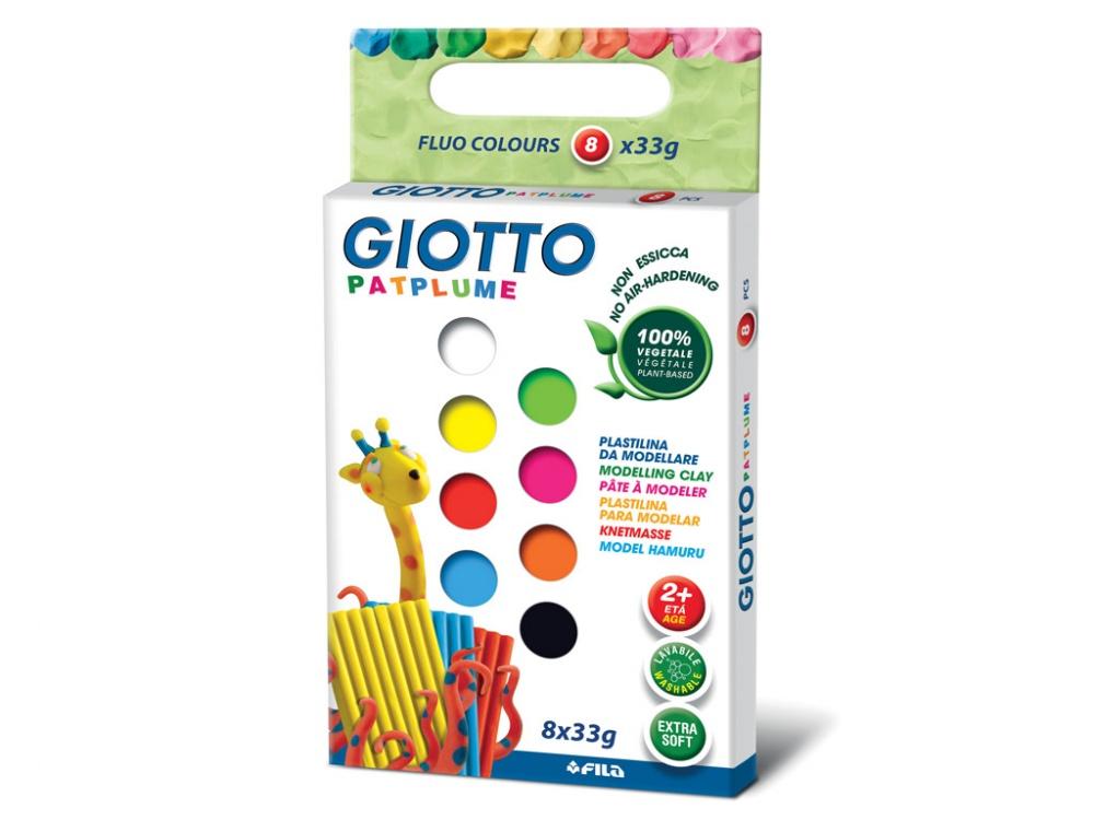 GIOTTO PATPLUME Пластилин 8 цветов х 33 гр., флуорисцентные цветаПластилин флуоресцентных цветов GIOTTO Patplume Fluo 513200 сделан на растительной основе и обладает отличной пластичностью. Из него можно делать самые мелкие детали, которые легко соединяются между собой. Он не боится перепадов температуры, не требует долгого разминания, не имеет запаха, не липнет к рукам, легко отстирывается. Лепка развивает мелкую моторику рук, творческие способности ребенка, воображение.<br>