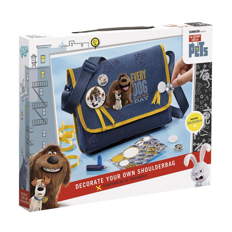 Сумка THE SECRET LIFE OF PETSНабор для творчества Секретная жизнь животных- сумка. Создай свою сумку и сделай ее уникальной. В набор входит: сумка с плечевым ремнем, 1 большой значок, 4 маленьких значка, набор наклеек Секретная жизнь животных, глиттер с синими блестками, ленты с изображением питомцев, инструкция. Рекомендуемый возвраст 6+.<br>