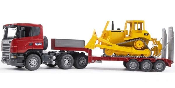 Тягач с прицепом–платформой Scania и с бульдозером CAT, 1:16Невероятно реалистичная масштабированная модель тягача Скания позволит ребенку почувствовать себя настоящим строителем. В набор входит бульдозер CAT, который закрепляется на прицепе-платформе, также выполненный по типу существующего бульдозера. Зафиксированный на платформе тягач CAT имеет функции, которые помогут юному строителю в игре, к примеру, регулируемый отвал.К модели можно приобрести модуль со светом и звуком (артикул: 02-801).Возраст: от 3 летДля мальчиковМодель: Scania, бульдозер CAT.Цвет: красный, желтый.Масштаб: 1:16.Комплектация: тягач, бульдозер.Материалы: пластик.Размер игрушки: 86.5 х 18.5 х 26 см.<br>