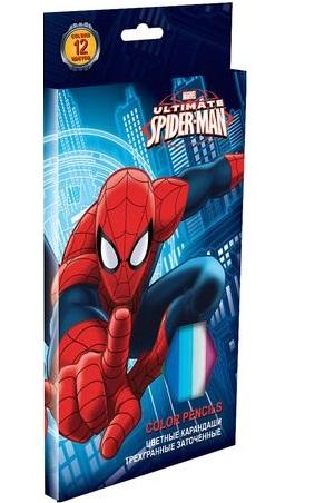 Карандаши Spider Man, 12 цветов краски гуашевые spider man 12 цветов