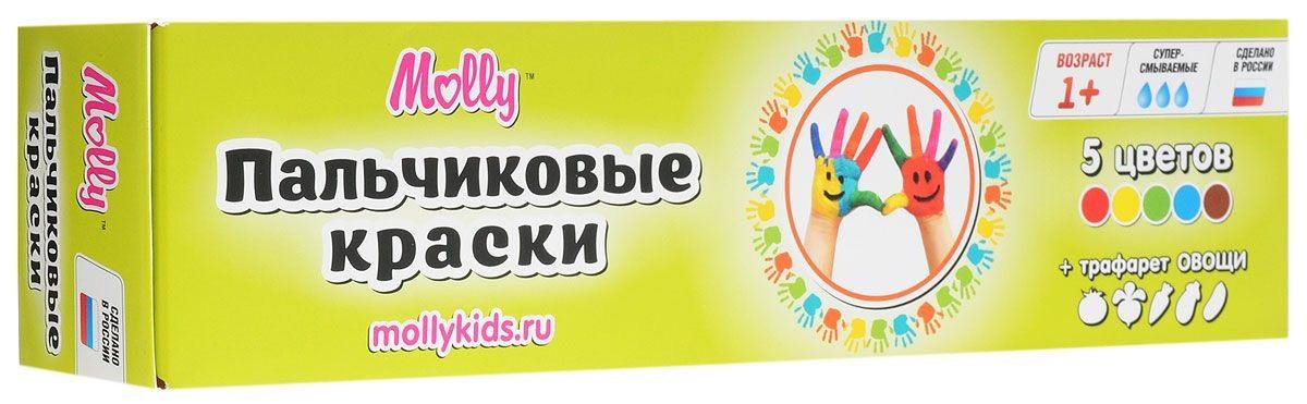 Molly Краски пальчиковые с трафаретом Овощи, 5 цветовКраски пальчиковые с трафаретом Овощи Molly отлично подойдут для первого творчества малыша.Краски подходят для раннего обучения цветам, развития тонкой моторики, тактильного восприятия.Краски разработаны специально для рисования пальчиками или ладошками для детей от 1 года. В комплект входят 5 цветов (красный, желтый, зеленый, синий, коричневый), а также тематический трафарет, с помощью которого юный художник сможет дополнить свои композиции аккуратными рисунками овощей.Краски нетоксичны.Состав: пищевой краситель, целлюлозный загуститель, глицерин, мел, консервант косметический, вода питьевая.<br>