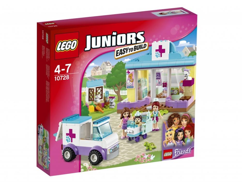 Конструктор Lego Juniors Ветеринарная клиника МииПомогай Оливии и Мие лечить заболевших животных в ветеринарной клинике LEGO Juniors! Вместе с Мией открой клинику и приготовься к дневному приему пациентов. Расскажи Оливии о животном, которое должна забрать машина скорой помощи, а, когда она подъедет, выйди, чтобы её встретить. Принеси животное в клинику, чтобы Мия могла начать его лечить. Помоги разместить животных, оставшихся в клинике до выздоровления.<br>
