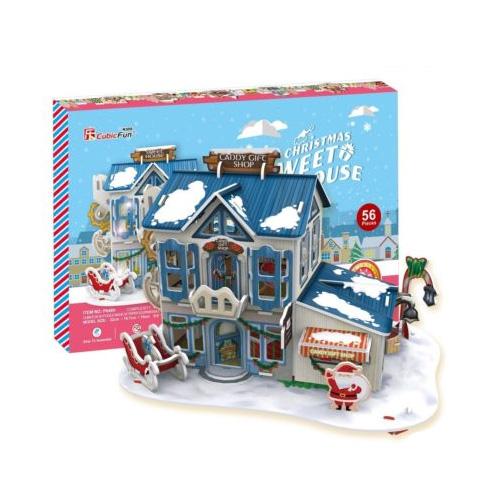 Рождественский домик 2 ( с подсветкой )3D пазл Рождественский домик в виде магазинчика рождественских конфет от Cubic Fun станет прекрасным подарком, как ребенку, так и взрослому! Этот замечательный пазл можно собирать всей семьей, увлекая ребенка в удивительный мир сказки и Рождества. Домик собирается без использования клея и ножниц, делая этот конструктор уникальным. Детали легко выдавливаются из картона и соединяются между собой  с помощью специальных соединительных приспособлений.Благодаря светодиодной подсветке, которая придает домику праздничное настроение, он станет отличным украшением интерьера детской комнаты.Функции:помогает в развитии логики и творческих способностей ребенка;помогает в формировании мышления, речи, внимания, восприятия и воображения;развивает моторику рук;расширяет кругозор ребенка и стимулирует к познанию новой информации;Практические характеристики:обучающая, яркая и реалистичная модель;идеально и легко собирается без инструментов;увлекательный игровой процесс;тематический ассортимент;новый качественный материал (ламинированный пенокартон).<br>