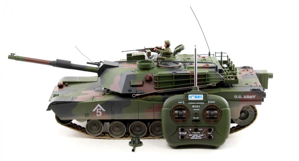 Танк М1А1 (не стреляющий) HOBBYРадиоуправляемый танк М1 (модель 1:16) -Почувствовать себя настоящим танкистом - мечта любого мальчишки! Высокое качество и надежность радиоуправляемой игрушки обеспечивает долгиу срок эксплуатации. Все функции настоящего танка, башня вращается на 360 градусов, дуло перемещается вверх и вниз. Озвученный, светятся фары, двигается по наклонной поверхности под углом в 35 градусов. В комплект входят аккумуляторы и зарядное устройство.<br>