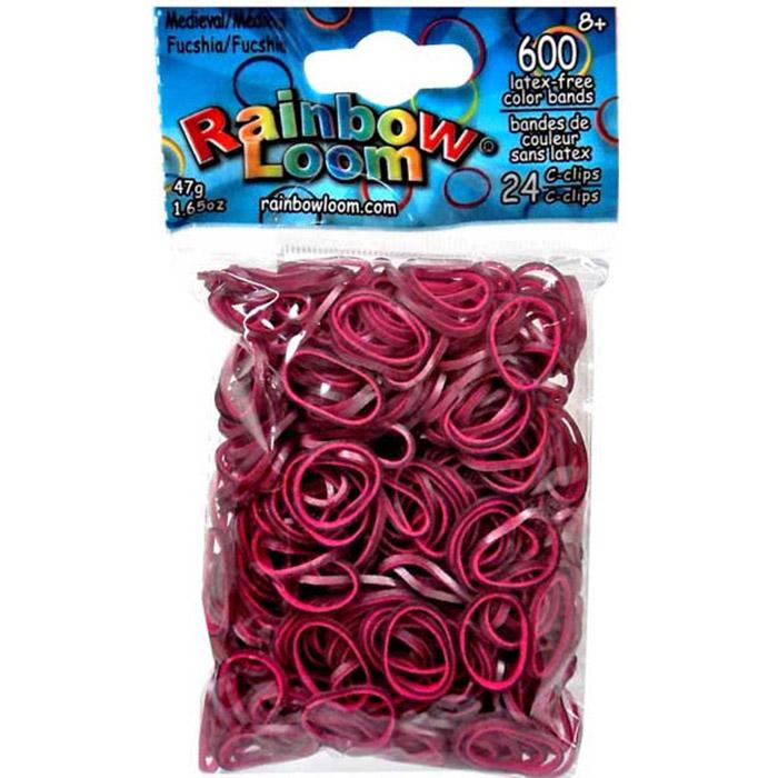 Резиночки - ФуксияРезиночки для плетения браслетов, коллекция Средневековье, 24 с-клипсы, 600 резиночек<br>