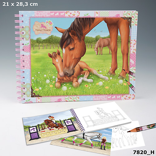 Creative Studio Книга-раскраска Лошадиные мечтыКак известно, лошади вызывают у детей особенный восторг своей статью и грациозностью. Лошадь - это очень умное и доброе животное, поэтому детишки так любят лошадей. Альбомы серии Horses Dreams созданы для мальчиков и девочек, которые  любят животных и все, что связано с ними. На страницах альбома изображены сюжеты лошадиных скачек, прогулок с лошадьми и многое другое. Крупные картинки с примерами для рисования станут для малыша увлекательным развлечением. Разукрасив черно-белую картинку ребенок получит красочный и интересный сюжет.Количество листов: 54 листа, 1 лист с наклейками, 6 двусторонних листов с примерами рисунков от производителя + примеры и инструкции на обложке.Материал:    бумага, картон, стикеры<br>