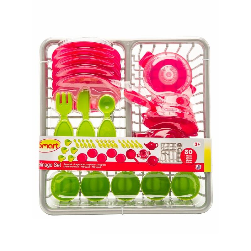 Набор посуды с сушилкой SmartHTI Набор посуды с сушилкой 1680956.00 Набор посуды с сушилкой исключительно подходит для того, чтобы играть в дочки-матери, гостей или кухню. Возможно приглашать на обед любимых подружек или посадить за обеденный стол своих лучших кукол. Во время игры, малышка освоит основные правила этикета и научится сервировать стол В комплекте: пять ножей, пять вилочек, пять ложечек 5 тарелок, 5 кружек сковорода, кастрюля, шумовка, чайник.<br>