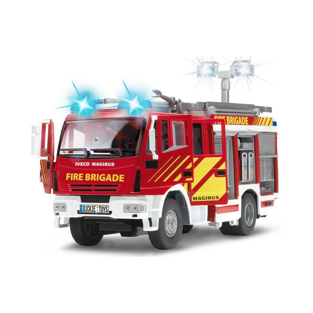 Пожарная машина с водой, 30см, св., зв, св.ходПожарная машина Dickie Toys выполнена в масштабе 1:24. Двери и шкафчики у нее открываются. Машинка имеет выдвижные опоры и дополнительное освещение, а также звуковые и световые эффекты. Пожарная машина может тушить воображаемый пожар с помощью воды. Ваш ребенок будет часами играть с этой машинкой, придумывая различные истории. Порадуйте его таким замечательным подарком!Рекомендуется докупить 2 батарейки напряжением 1,5V типа АА (товар комплектуется демонстрационными).<br>