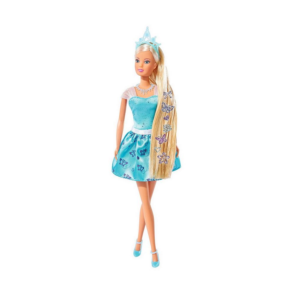 Кукла Штеффи с наклейками для волос, 29 смОчаровательная кукла «Штеффи» в легком голубом платье выглядит очень романтично и элегантно. Ее длинные золотистые волосы украшены необычными блестящими наклейками, которые имитируют заколки и драгоценные украшения для причесок, поэтому они смотрятся очень красиво и стильно.Изящные туфельки на ногах у Штеффи придают ей образ настоящей современной модницы. Пластиковая кукла наверняка привлечет внимание, станет любимицей девочки и поможет разыграть множество увлекательных тематических сюжетов и сценок.<br>