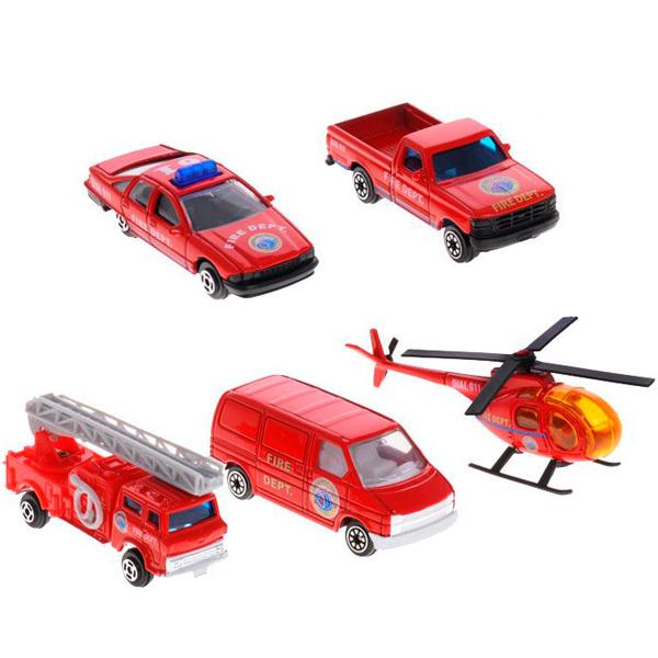 Игровой набор Пожарная команда 5 шт.Игровые наборы машин Welly. Игровой набор Пожарная команда 5 шт., пикап, вертолет, фургон, легковая и пожарная машины.<br>