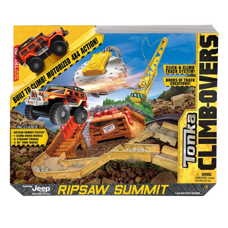 Трек Tonka Climb-overs с машинкой Ripsaw SummitТрек Climb-Overs с машинкой Ripsaw Summit представляют собой развлекательный набор. В картонной коробке имеются 1 ярко-оранжевый джип, 7 прямых треков песочного цвета, 3 трека с углом в 90??? градусов и другие аксессуары. Все детали комплекта изготовлены из прочного пластика и качественного металла.В начале игры необходимо соединить между собой отдельные треки, чтобы получилась одна сплошная дорожная полоса. Далее машинка ездит по ней и преодолевает подъемы и спуски на мостах. Сборка и сама игра с машинкой принесут ребенку много положительных эмоций.Комплектация: 1 машинка, 7 прямых треков, 3 трека в 90??? градусов, аксессуары.Наличие батареек:  входят в комплект.Тип батареек: 2 х AAA / LR0.3 1.5V (мизинчиковые).Материалы: пластик, металл.<br>