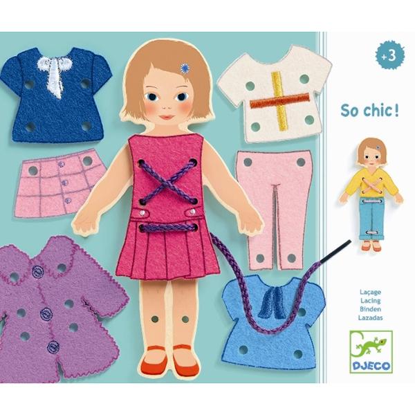 Шнуровка Какой стиль!Шнуровка Какой стиль! от французского производителя Djeco – превосходный набор для творчества и развивающая игра одновременно, которая обязательно понравится каждой девочке.В комплекте есть фигурка очаровательной девочки, а также несколько вариантов разной одежды. Ребенку предлагается придумать куколке новый образ, одев её в стильные наряды с помощью веревочки. Малышу очень понравится придумывать для куколки новые костюмчики, вдевая шнурок в отверстия и прикрепляя элементы одежды.Игра прекрасно развивает фантазию и воображение ребенка, детскую моторику, логическое мышление и сообразительность.Набор изготовлен из безопасных высококачественных материалов.Изображения покрыты безопасными красками.Продается в подарочной упаковке.Французская компания Джеко производит развивающие игрушки и игры для детей, а также наборы для творчества и детали интерьера детской комнаты. Все товары Джеко отличаются высочайшим качеством, необычной идеей исполнения. Изображения и дизайн специально разрабатываются молодыми французскими художниками.<br>