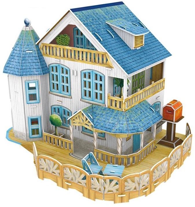 3D пазл Cubicfun Загородный домУдивительный трехмерный домик, собираемый из этого пазла, буквально очарует вас. Это очень красивая загородная вилла с продуманным интерьером и экстерьером. Домик подойдет для некоторых небольших кукол.В собранном виде дом поразит ваше воображение. Его нежные, светлые оттенки особенно понравятся девочкам. Если поставить такой красивый дом на полку, то все гости вашего дома обязательно залюбуются им. К тому же, сборка пазлов развивает моторику, усидчивость, аккуратность и другие качества.<br>