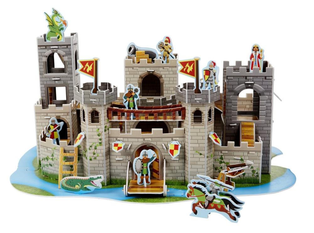 3D-пазл Средневековый замок3D-пазл от торговой марки Melissa &amp; Doug состоит из более 100 элементов, собираемых во внушительный и реалистично выглядящий средневековый замок с башнями, флагами, гербами, фигурками рыцарей, орудиями и даже драконом. Сборка объемного пазла не требует клея и ножниц - все детали крепятся между собой при помощи прорезей.<br>