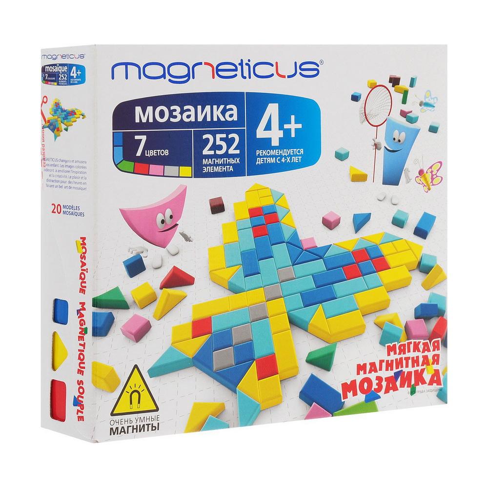 Мозаика 4+, 252 элемента / 7 цветов / 20 этюдовМозаика Magneticus 20 этюдов специально разработана для детей с 4-х летнего возраста.Мозаичные элементы выполнены из безопасного, эластичного, приятного на ощупь полимерного материала на магнитной основе. В набор входят 252 больших и маленьких простейших геометрических фигур разных цветов, которые позволят создавать чудесные образы. Также в наборе игровое поле в рамке и буклет с 30 примерами мозаичных картинок.Мозаика легко крепится к холодильнику. Работа с мозаикой развивает мелкую моторику - согласованные движения пальцев рук ребенка. А ведь именно от степени сформированности движений кисти и пальцев рук зависит уровень развития речи. Мозаика помогает выработать чувство координации и укрепляет зрительную память ребенка.<br>