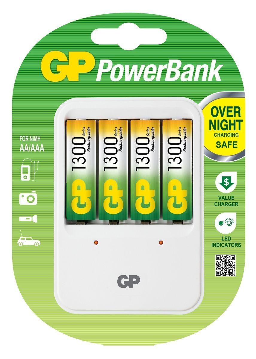 Зарядное устройство для аккумуляторов GP Batteries + 4 ААПростое в использовании зарядное устройство GP Batteries предназначено для зарядки никель-металлогидридных аккумуляторов. Заряжает аккумуляторы АА любой мощности. Четыре независимых канала позволяют заряжать 4 аккумулятора типа AA одновременно. Светодиодные индикаторы показывают уровень зарядки батарей. В устройстве предусмотрена автоматическая защита от перегрузки и перегрева. В комплект входят: 4 аккумулятора типа AA (1300 mAh).<br>
