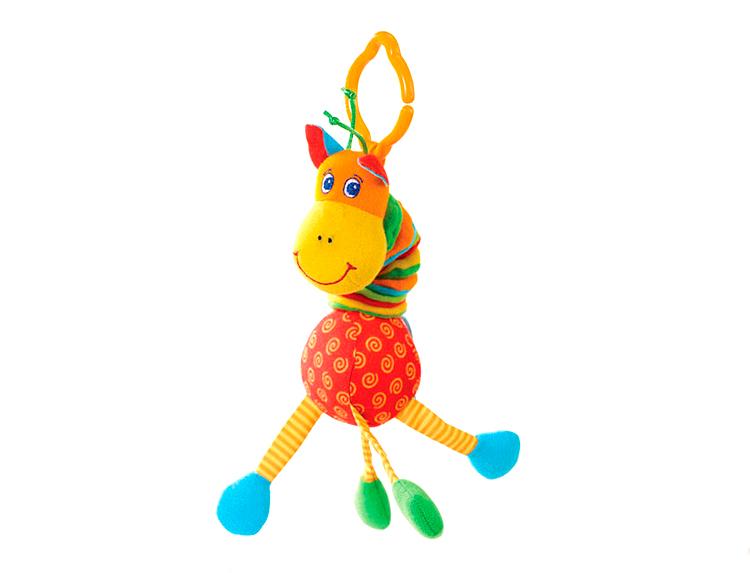 Развивающая игрушка Жираф (вибрирует)«Жираф» призван помочь вашему ребенку в развитии зрительных и слуховых навыков. Для этого игрушка оснащена вибрирующим механизмом и погремушкой, издающей забавные звуки. Изделие оборудовано пластиковым креплением-крабом, с помощью которого его можно закрепить на детской кроватке или коляске. Если растянуть туловище жирафа во всю длину, то обратно оно будет складывать со смешным звуком.Возраст: от 30 месяцевДля мальчиков и девочекМатериалы: пластик, текстиль.Размер упаковки: 5 х 13 х 33 см.Размер игрушки: 25 x 7.5 x 6 см.Вес: 0.06 кг.<br>