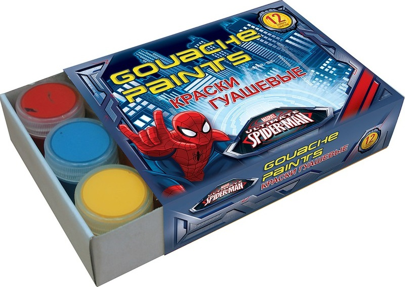 Краски гуашевые Spider Man, 12 цветов краски гуашевые spider man 12 цветов