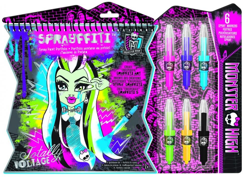 Портфолио Спрейфити Школа монстровРаскраска-граффити Портфолио Спрейфити приведет в восторг поклонницу мультика «Школа монстров». В скетчбуке вашу девочку ждет 15 листочков с контурами граффити, которые нужно будет раскрасить, используя специальные маркеры-распылители, которые входят в комплект.Чтобы придать картинкам особый уличный шарм, можно использовать трафарет, включенный в набор.Обложка раскраски ярко оформлена, поэтому скретчбук отлично подойдет для подарка по любому поводу.<br>