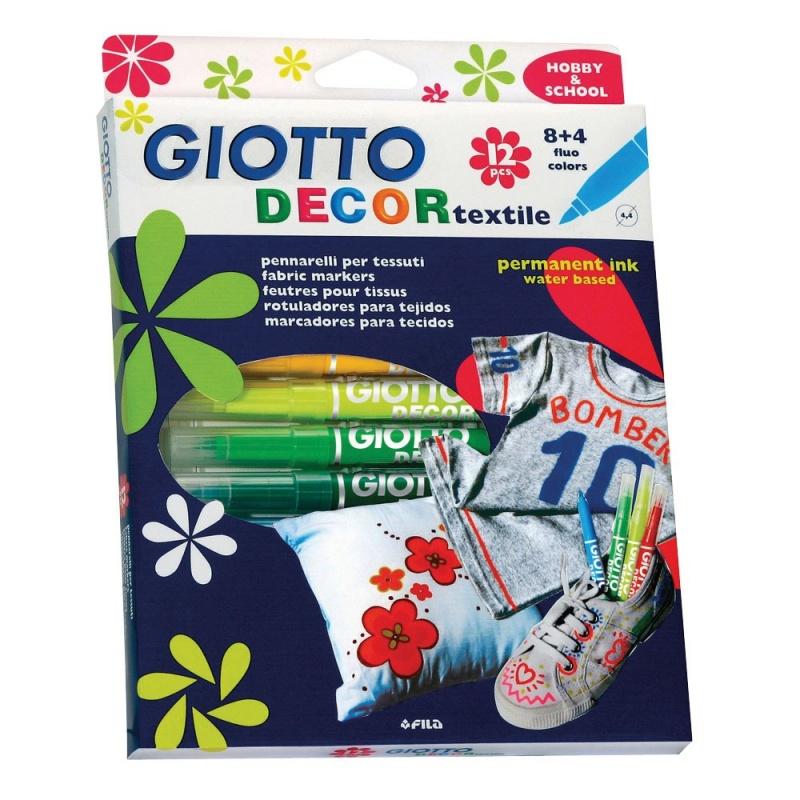 GIOTTO DECOR TEXTILE Специальные фломастеры для декорирования по ткани, 12 цветов