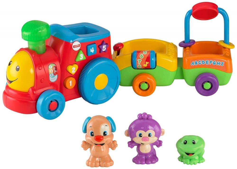 Развивающая игрушка Смейся и учись - Паровозик ученого щенкаРазвивающая игрушка Паровозик ученого щенка предназначена для малышей возрастом от полугода и старше. Добродушный паровозик и три его пассажира - щенок, обезьянка и лягушонок с радостью будут играть с вашим крохой.Нажав на зеленую трубу паровозика, она начнет светиться, а нажимая на кнопки по бокам, начнет звучать одна из 50 забавных песен, мелодий или фраз. В паровозик встроена функция Smart Stages. Благодаря ей уровень сложности обучения будет меняться по мере взросления малыша. В паровозике заложено три уровня сложности развивающей игры, также в зависимости от уровня сложности, меняются песни и фразы произносимые паровозиком. Игрушка работает от двух батареек, идущих в комплекте.Возраст: от 6 месяцевДля мальчиков и девочекНаличие батареек:  входят в комплект.Тип батареек: на батарейках.Материалы: высококачественная пластмасса.Размер упаковки: 53 x 28 x 15,5 см.Вес: 1.8 кг.<br>