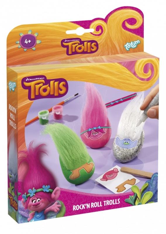 Набор для творчества  TROLLS ROCKN ROLL TROLLSСоздайте собственных троллей. В наборе: 3 камешка, набор из двух красок, лист с переводными картинками, деревянная палочка, кисточка, глиттер с блестками, лист с наклейками, волосы троля - 3 цвета, двусторонняя лента, инструкция. Возвраст: 4+.<br>