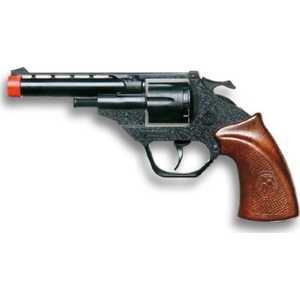 Пистолет Суси, 18.5 см8-ми зарядный пистолет «Суси» - это замечательное оружие любого полицейского, выполненное в смешанном стиле Дикого Запада и Востока. Необычный пистолет с резными узорами станет прекрасным подарком для любого активного непоседы и подарит ему массу положительных эмоций.Пистолетик от итальянского бренда Edison Giocattoli — это идеальный пример настоящего европейского качества. Игрушка произведена в Италии и соответствуют установленным мировым и европейским стандартам качества. В процессе изготовления используются только высококачественные материалы, безопасные для детского здоровья.Возраст: от 7 летДля мальчиковМатериалы: высококачественная пластмасса, металл.Длина пистолета: 18.5 см.<br>