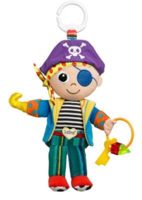 Lamaze Мягкая игрушка-подвеска Пират ПитМягкая игрушка-подвеска Lamaze Пират Пит выполнена из высококачественных и безопасных материалов. Игрушка в виде пирата станет первой любимой игрушкой вашего крохи. Пират Пит одет в брюки, тельняшку и цветной пиджак, а на голове у него настоящая пиратская бандана с черепом и костями. Пиджак и сапожки пирата шелестят. Вместо одной из руки у пирата крюк, а в другой руке он держит кольцо с бусинками, которые отлично подойдут в качестве прорезывателя для зубов. Питрат Пит изготовлен из разноцветных кусочков ткани, различных по своей текстуре, а также у него есть множество мелких деталей, которые крохам будет интересно изучать маленькими пальчиками. Сверху имеется пластмассовое кольцо, чтобы игрушку можно было закрепить на кроватке или коляске.Мягкая игрушка-подвеска Lamaze Пират Пит способствует развитию мелкой моторики, тактильных ощущений, стимулирует цветовосприятие и учит концентрировать внимание.<br>