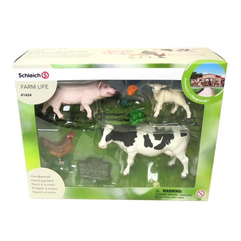 Набор Мои первые животные на фермеНабор «Мои первые животные» - отличный подарок детям от 3 лет. Его характеристики указывают, что все игрушки безопасны для малышей. Изучайте домашних животных с ребенком!Описание указывает, что  небольшой коробке поместилась целая ферма: поросенок, овечка, курочка, корова. Отзывы говорят, что с помощью наглядного пособия дети быстро запоминают разных животных. Вы можете заказать набор в подарок или просто купить его для знакомства малыша с представителями живого мира. На коробочке имеются характеристики, которые указывают, что все игрушки безопасны. Они произведены из качественного материала, который не выделяет токсинов. В нашем интернет-магазине цена на набор вас приятно удивит! Мы всегда идем навстречу нашим покупателям!<br>