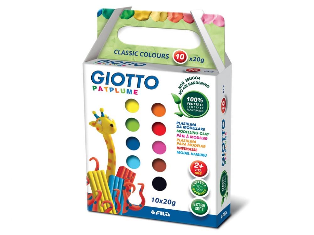GIOTTO PATPLUME Пластилин 10 цветов х 20 гр.Высококачественный пластилин GIOTTO Partplume 512900для детей. Сделан изнатуральных экологически чистых материалов,10 ярких цветов по 20 грамм.Превосходная пластичность и структурность, из него удобно лепить даже очень маленькие объекты и детали.Пластилин не пачкает одежду, отстирывается, без запаха, не липнет к рукам. Безопасен для маленьких детей, не вызывает аллергии.<br>
