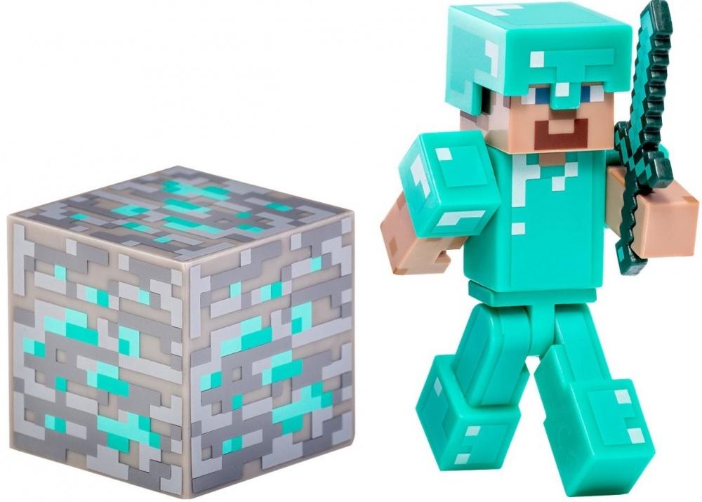 Фигурка Jazwares Minecraft Diamond Steve 3 мягкая игрушка minecraft летучая мышь bat 16536 jazwares