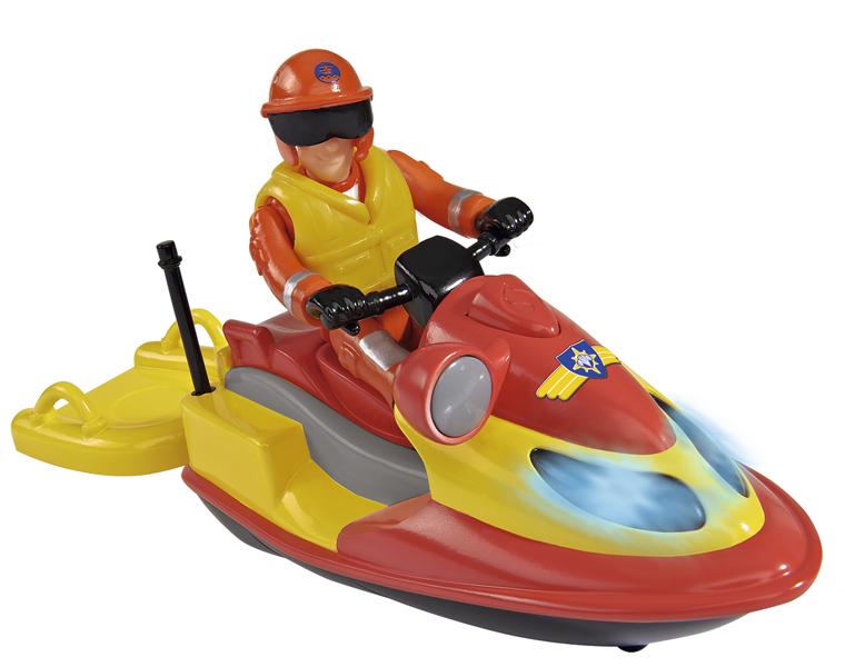Годроцикл с аксессуарами Пожарный Сэм (со светом)Яркий гидроцикл оснащен встроенными светодиодами, которые включаются, если нажать на кнопку, расположенную на корпусе. К игрушечному гидроциклу прилагается фигурка спасателя с подвижными ногами, руками и поворачивающимся корпусом, которую можно посадит за руль. В комплекте также имеются аксессуары, часть которых помещается под сидением гидроцикла.С данным набором, выполненным по мотивам детского мультика Пожарный Сэм, ребенок сможет разыгрывать спасательные операции на воде.Возраст: от 3 летДля мальчиковЦвет: оранжевый, желтый, черный, серый.Комплектация: гидроцикл, фигурка, аксессуары.Наличие батареек:  входят в комплект.Тип батареек: 2 x AAA / LR0.3 1.5 (мизинчиковые).Материалы: пластик, металл.Размер упаковки: 7 х 12 х 11 см.<br>