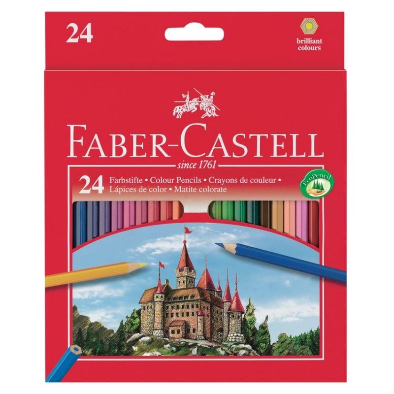 Цветные карандаши ECO ЗАМОК с точилкой, набор цветов, в картонной коробке, 24 шт.