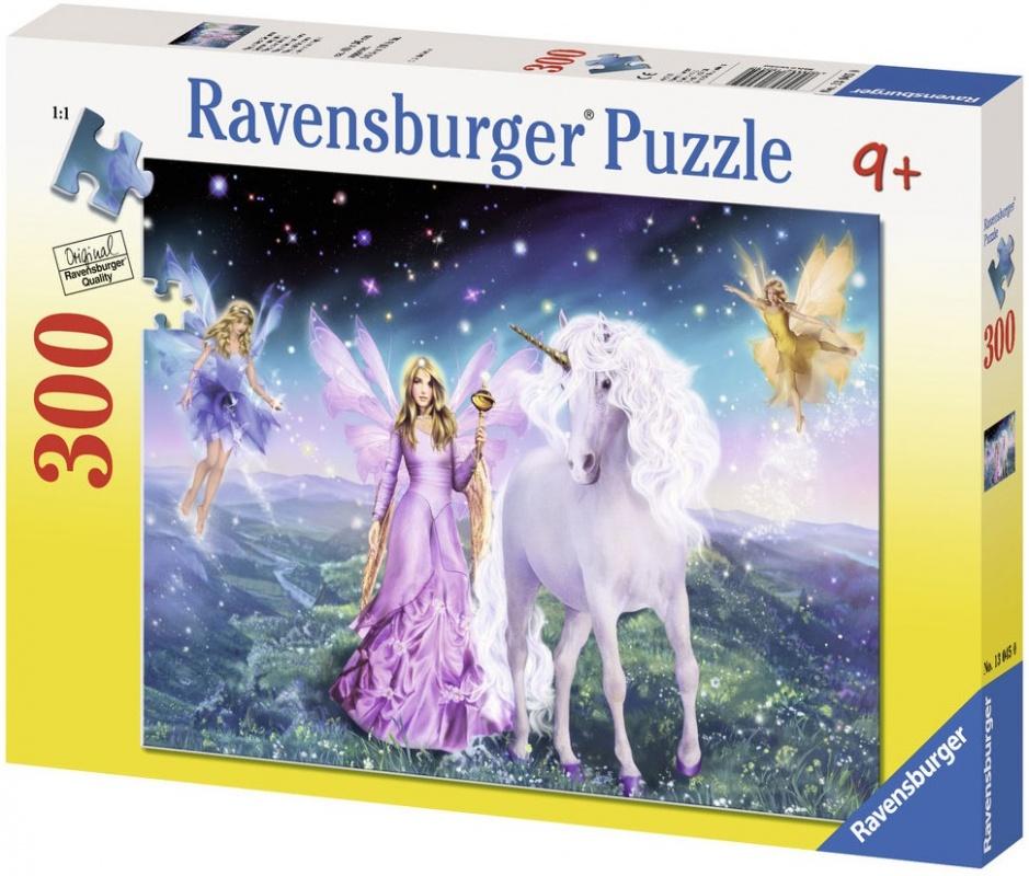 Пазл Ravensburger Волшебный единорогПазл Волшебный единорог от компании Ravensburger включает в себя 300 элементов, выполненных из плотного картона. Ориентируясь на картинку с коробки, можно собрать яркий рисунок с изображением сказочных существ в компании прекрасной девушки, которая, впрочем, тоже больше относиться к мифическим созданиям.<br>