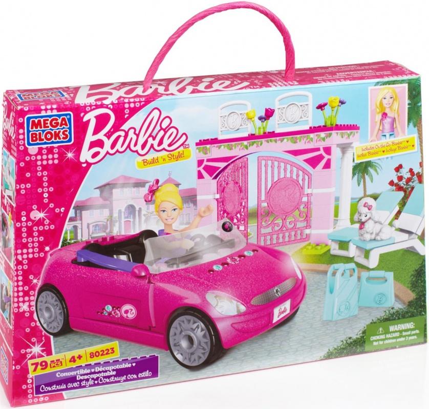 Набор Барби c автомобилем Mega BloksКонструктор MEGA BLOKS Набор Барби c автомобилем выполнен в традиционных ярко-розовых цветах, прекрасно подойдет для подарка девочке, увлеченной прекрасным миром Барби.В набор входит фигурка куклы Барби (с подвижными частями тела), автомобиль, а также 2 шезлонга, верный пудель Барби и резные ворота.Конструктор MEGA BLOKS поможет развить у Вашей девочки мелкую моторику рук, цветовое восприятие, и просто будет хорошей игрушкой.Набор включает в себя 79 деталей, дополнительные пластмассовые волосы позволяют менять имидж куклы, у автомобиля крутятся колеса и есть откидывающийся тент от солнца.Играя с этим конструктором, ребенок развивает воображение, фантазию, мелкую моторику, пространственное и логическое мышление.<br>
