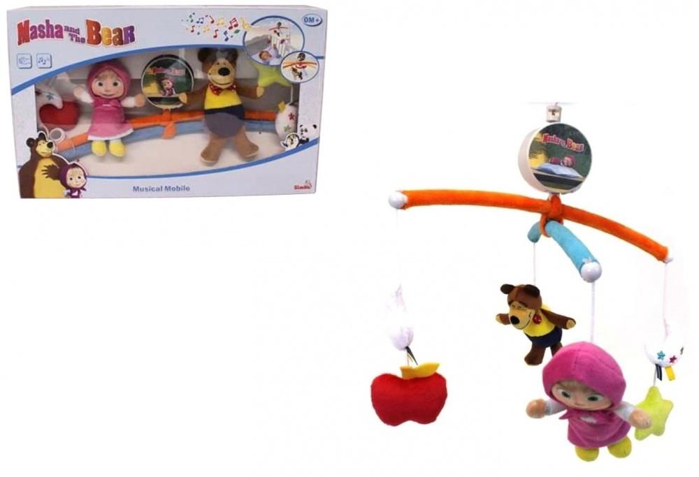 Музыкальный мобиль на кроватку Simba Маша и МедведьМузыкальный мобиль Маша и медведь от бренда Simba сделан по мотивам одноименного мультсериала, персонажей которого напоминают мягкие игрушки-подвески. Основание представляет собой 2 дуги с подвешенными фигурками главных героев Маши и Медведя, а также небольших игрушек в виде яблока и звезды, которые привлекут внимание ребенка своим ярким цветом и формой.Данный мобиль является механическим, его нужно завести, для того чтобы игрушки начали крутиться. Успокоить малыша поможет приятная мелодия, которая может играть на протяжении 4 минут. Данный мобиль не только развлечет ребенка, но и поможет развить цветовое и звуковое восприятие в течение первых месяцев жизни. Когда малыш подрастет, он сможет доставать ручками до игрушек, трогать их, что будет способствовать развитию тактильных ощущений и моторики.<br>