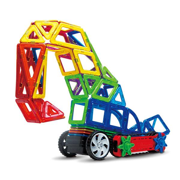 Магнитный конструктор Magformers Dinamic Wheel setНабор «Magformers Dynamic Wheel Set» состоит из 79 деталей и включает в себя как основные магнитные формы Магформерс, так и аксессуары. Особенность этого набора - наличие всех видов колес, благодаря чему открываются безграничные возможности для создания любого транспорта.<br>