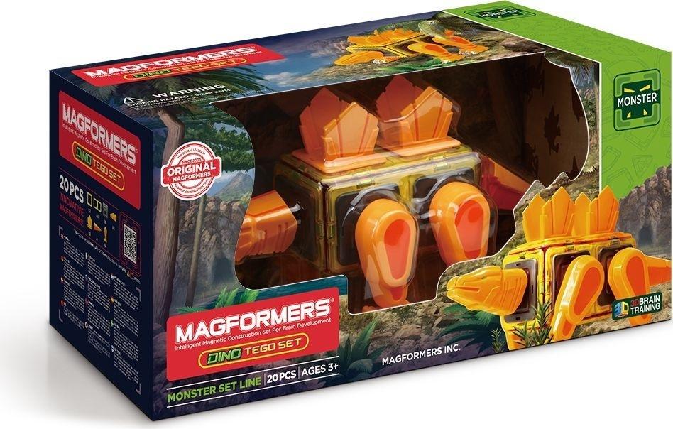 Магнитный конструктор Magformers Dino Tego set, 20 деталейНабор Magformers Dino Tego Set создан для детей, которые увлекаются темой доисторического мира. Данный набор отличается тем, что в состав, кроме магнитных деталей, входят вставки с подвижными частями тела динозавра. Ребенок может собрать модель стегозавра, который умеет вращать головой, двигать хвостом, шагать и т. п. В результате получается полноценная игрушка. Состав: 20 элементов. Внимание! Наборы Магформерс предназначены для детей старше 3-х лет. Дети меньшего возраста тоже могут играть конструкторами Магформерс, но только под присмотром родителей! Магформерс — это развивающий магнитный конструктор нового поколения. Магнитные детали разнообразных геометрических форм складываются в самые невероятные модели: башни и роботы, животные и автомобили — Магформерс развивает интеллект и воображение ребенка. Магниты укреплены внутри деталей Магформерс особым образом, который позволяет им поворачиваться друг к другу нужной стороной. В результате детали всегда притягиваются, и строить из Магформерс легко и удобно. В конструкторе используются самые сильные в мире неодимовые магниты, они повышают прочность построек. Магформерс обладает уникальным развивающим потенциалом и подходит для игры и занятий с самого раннего возраста. Работа с деталями улучшает мелкую моторику, а постройка объемных фигур развивает пространственное и абстрактное мышление. Возможности для раскрытия творческих способностей ребенка с Магформерс практически безграничны: из магнитных деталей можно собрать самые невероятные и фантастические модели. Детали Магформерс изготовлены из очень прочного и эластичного пластика, который нелегко сломать и взрослому человеку. Ваш ребенок не поранится острыми краями обломков и не доберется до маленьких магнитов внутри! Наборы Магформерс проходят тщательный контроль качества и безопасности и получили все необходимые сертификаты по российским и международным стандартам. Магформерс постоянно совершенствует технологии