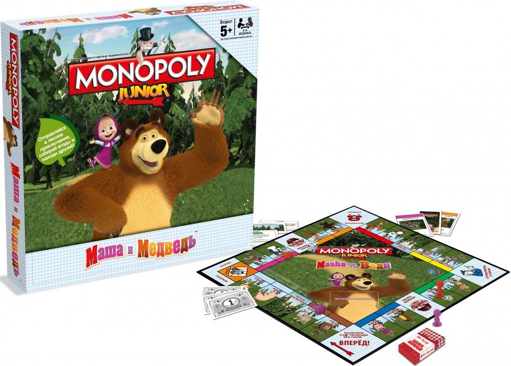Игра настольная Монополия. Маша и МедведьМонополия Маша и Медведь представляет собой одну из классических настольных игр, оформленную в весьма оригинальном стиле. Дизайн игры посвящен популярному детскому мультфильму Маша и Медведь, поэтому он сможет сделать монополию более понятной и интересной для ребенка. В игровой комплект входит специальное поле, несколько жетонов, несколько кубиков, которые помогут определить очередность ходьбы, а также дополнительные карточки.Такая игра, как монополия, позволяет не только увлекательно проводить время с друзьями или в кругу семьи, но и прямо во время игрового процесса получать навыки ведения бизнеса и улучшать деловую хватку.<br>