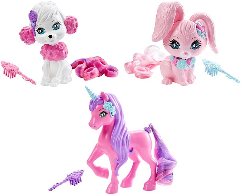 Barbie Питомцы в ассортиментеЭти зверушки, питомцы Барби®, с роскошными длинными хвостами готовы сменить стиль в ваших руках! Хвосты у них съемные, подходят к другим зверям серии, а чтобы их расчесывать, прилагается щетка. На выбор предлагаются розовая единорожка, белая собачка и розовый кролик — если собрать всех троих вместе, то менять и заплетать можно до бесконечности! Потом прическу можно расчесать прилагаемой щеткой для волос и начать сначала. Куклы и питомцы из этой серии — это часы игры и раздолье для парикмахерских фантазий!<br>