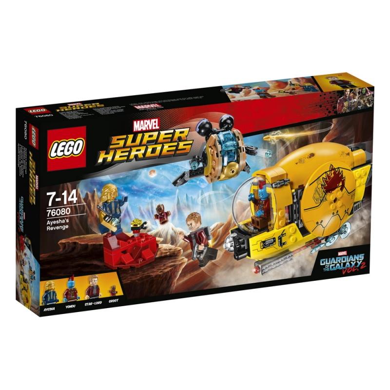Конструктор Lego Super Heroes Месть АишиАиша атакует Звёздного Лорда на своем космическим корабле! Отправьте Йонду на спасательную операцию и выстрели мощным снарядом с пружинным механизмом по красной скале, чтобы спустить Аишу с обрыва. Вместе Супергерои из Стражей галактики могут победить!<br>