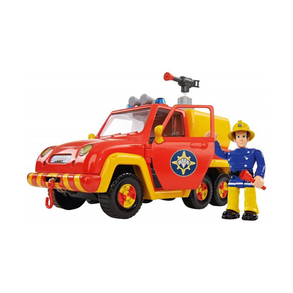 Пожарный Сэм, Машина Венус со звуком и функцией воды, 19смИгровой набор Пожарный Сэм от компании Simba - это игрушечная модель пожарной машины Венус с фигуркой человечка. Этот человечек работает в службе пожарного спасения и зовут его Сэм. Конечности фигурки подвижны. Двери машины открываются. Поэтому Сэма можно усадить за руль автомобиля, на котором установлено средство тушение пожара, выполненное в виде гидранта. Кроме этого, в машине имеются атрибуты, которые могут понадобиться при тушении пожара. Сюда входит размеченное ограждение, аптечка, ручной огнетушитель и фонарик.С этим набором мальчишки смогут разыграть сценки, где Сэм будет спасать другие игрушки от пожара, управляя гидрантом или ручным огнетушителем.<br>