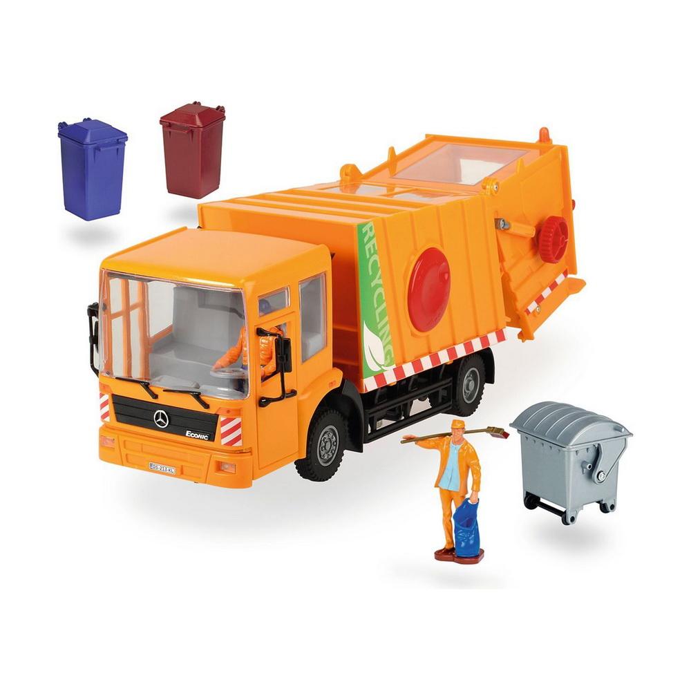 Мусоровоз Mercedes, 38см, 1 24, св.ход + акс.Мусоровоз Dickie Toys Mercedes Econic выполнен в масштабе 1:24 со свободным ходом. Двери кабины открываются. Контейнер механически поднимается и опускается. Внутри расположен механический пресс для мусора. В наборе 2 фигурки, 2 контейнера для мусора, 1 бак для мусора. Ваш ребенок будет часами играть с этой машинкой, придумывая различные истории. Порадуйте его таким замечательным подарком!<br>