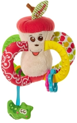 Игрушка-погремушка Вкусное яблочкоПогремушка Вкусное яблочко – это мягкая развивающая игрушка для малыша.Разноцветная погремушка Вкусное яблочко от Chicco идеально подходит для развития малышей с самого раннего возраста.Игрушка прекрасно развивают тактильные ощущения, осязание и мелкую моторику малыша.Четыре ручки-колечка удобны для захвата маленькой детской ручкой.Две ручки-колечка сшиты из тканей разной плотности и фактур.Две другие выполнены из ультрамягкого пластика с выпуклыми узорами, и могут быть использованы малышом в качестве прорезывателей.На ручки-прорезыватели нанизаны пластиковые колечки различных форм и цветов, передвигая которые малыш развивает координацию движений.А при встряхивании игрушки, колечки издают забавный звук погремушки.Снизу к яблочку присоединена небольшая забавная гусеница на ленте, наблюдая за которой и пытаясь схватить ее, малыш развивает зрительные навыки и хватательные рефлексы.Сверху у яблочка забавный листочек, который издает шуршащие звуки, тем самым развивая у малыша слуховые навыки.<br>