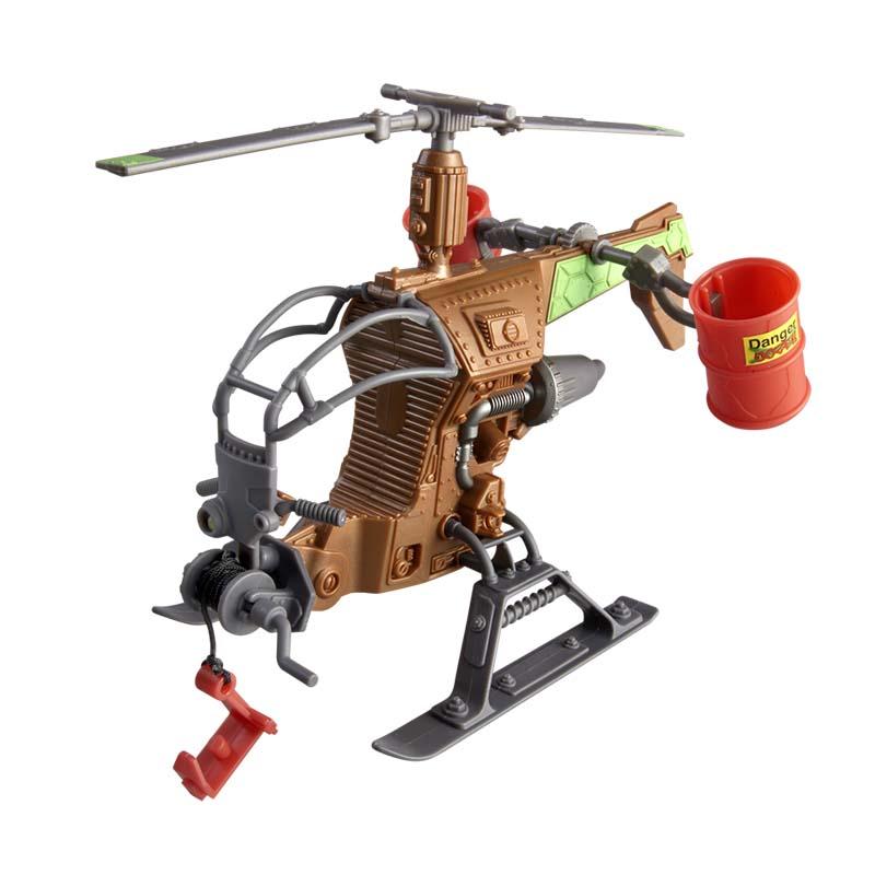 Вертолет Черепашки НиндзяВертолет Черепашки Ниндзя от компании Playmates станет замечательным подарком каждому поклоннику этого замечательного одноименного мультика про отважных черепашек и их учителя. Игрушка представляет собой миниатюрный вертолетик, в который можно посадить одного из героев и перемещать его по воздуху. Также у вертолета имеются специальные бочки, куда можно залить мутагенную слизь (продается отдельно), а потом выливать ее сверху на врагов. В передней части игрушки присутствует крюк на настоящей лебедке. Игрушка отлично детализирована и имеет интересный дизайн.Внимание! Фигурка и слизь в комплект не входят, продаются отдельно.от 4 летГерой: Черепашки Ниндзя / TMNTДля мальчиковЦвет: коричневый, черный.Комплектация: вертолет.Материалы: пластик.Размер игрушки: 24.3 х 6.5 х 19.3 см.<br>