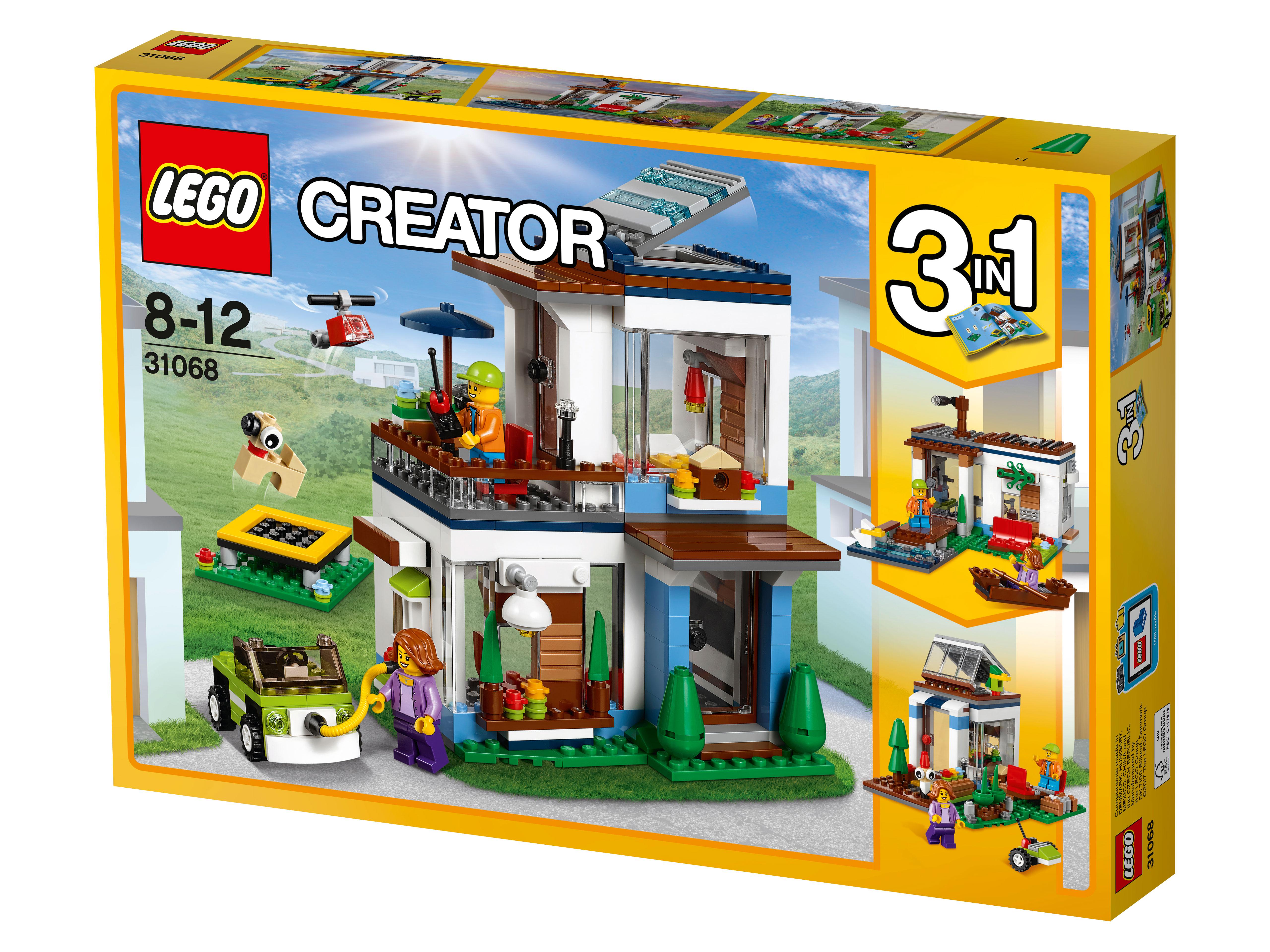 31068 Lego Creator Современный домСложно ли построить дом? Попробуйте свои силы вместе с новым конструктором Лего Современный дом. Уютный крытый балкон, панорамные окна, небольшие комнаты с мягкой мебелью для отдыха — продумана каждая мелочь. Скучно не будет — можно поиграть с собакой, а можно совершить прогулку в город на компактном электромобиле, чтобы заодно сделать покупки и встретиться с друзьями. А можно попрыгать с трамплина, чтобы не тратить время на утомительную спортивную тренировку. Моделируя кубики, можно подобрать оптимальную для себя конструкцию дома с разным расположением окон и заодно — проверить свои способности к творческой деятельности. В наборе 380 деталей, но для опытного любителя Лего никаких сложностей не возникнет, тем более что можно уточнить правила сборки по вложенной в коробку детальной инструкции.<br>